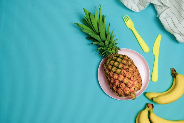 Summer time to relax with pineapple and banana fruit