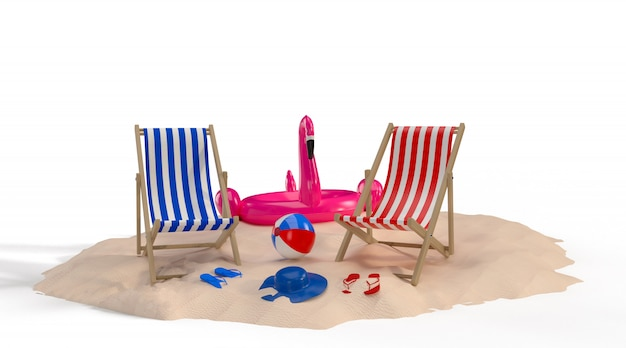 Summer time with elements, flamingo float, pool ring, ball, ring floating and chair