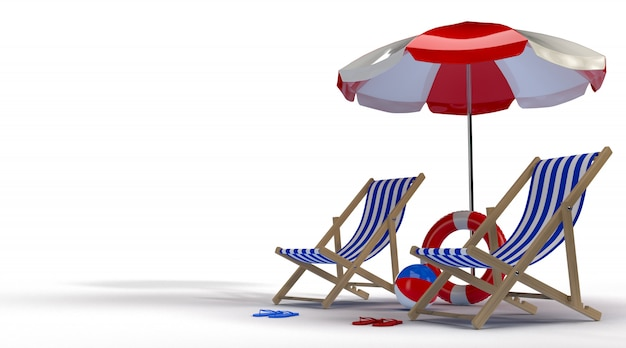 Summer time with elements, pool ring, ball, ring floating and chair