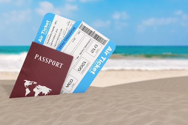 夏の旅行のコンセプト。オーシャンデザートドコーストの極端なクローズアップでパスポート付きの航空会社の搭乗旅客チケット。 3dレンダリング