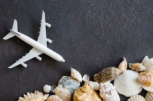 Summer travel concept. decorative airplane and different seashells on dark concrete background.