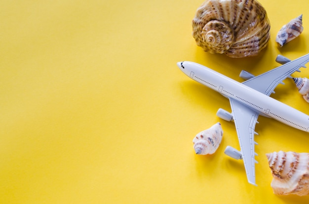 Summer travel concept. decorative airplane and seashells on yellow background.