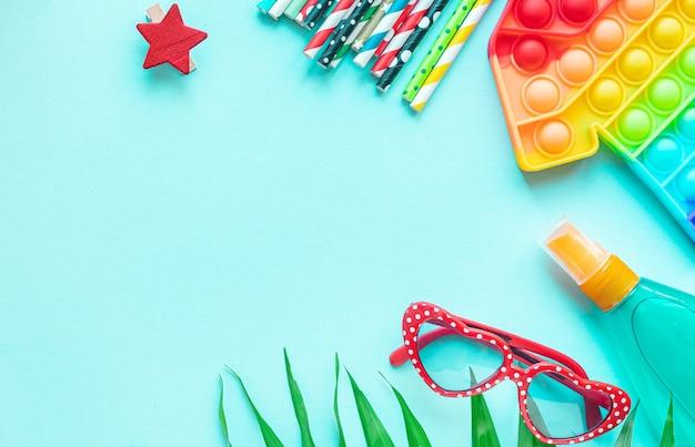 Лето тропический лист солнце очки ракушки веселье аксессуары путешествия отпуск лето простой ямочка pop it