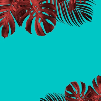 Summer tropical leaves background duo tone style