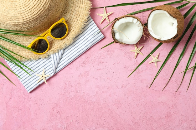 Summer vacation accessories on color background, space for text. summer vacation concept