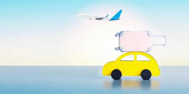 여름 휴가와 항공, 자동 여행 컨셉입니다. 수하물이 있는 자동차, 화창한 날 비행기. 배너.
