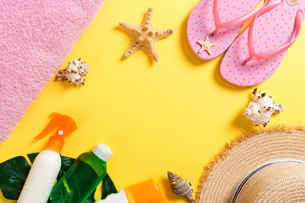Summer vacation background with copy space. flat lay photo on color table, travel concept. free space for text, mock-up