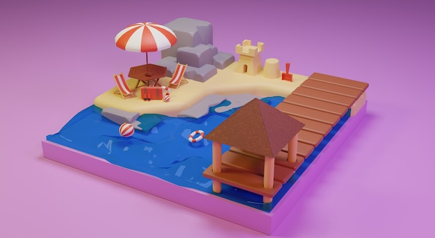 Summer vacation concept banner beach design and travel 3d rendering premium photos