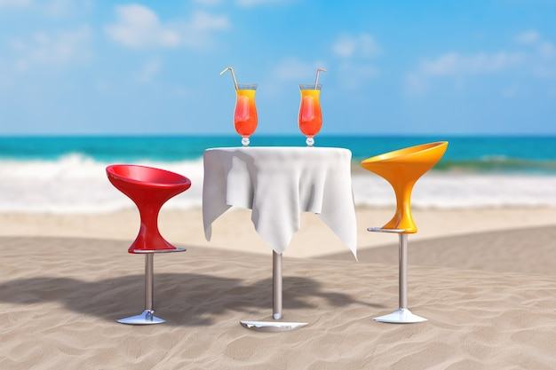Summer vacation concept. bar modern stools near table with red tropical cocktails on an ocean deserted coast extreme closeup. 3d rendering