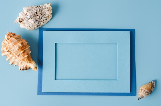 Summer vacation concept. blue background with paper frame different seashells.