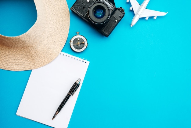 Summer vacation concept, on blue background