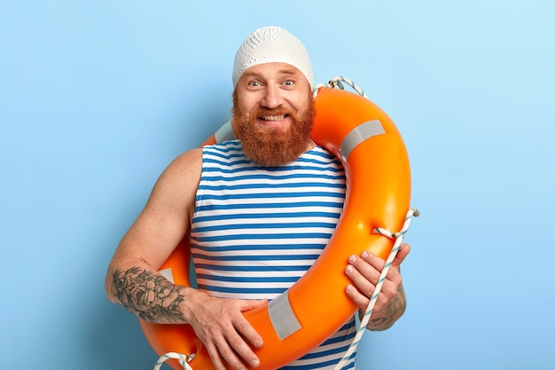 Summer vacation concept. cheerful man with ginger beard