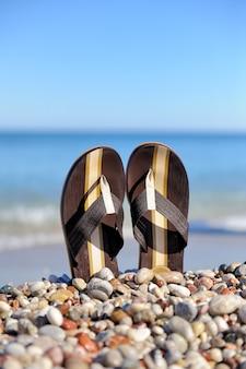 夏休みのコンセプト。ストーンオーシャンビーチのビーチサンダル