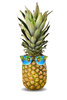 Summer vacation concept. fresh pineapple with sunglasses and palms reflection isolated on white background.