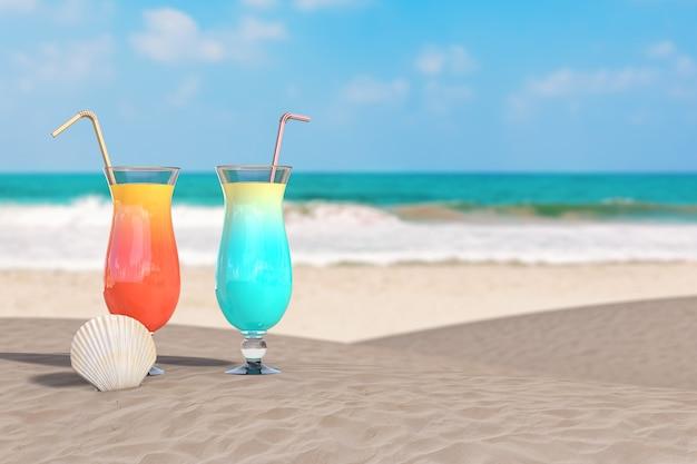 Summer vacation concept. red and blue tropical cocktails with beauty scallop sea or ocean shell seashell on an ocean deserted coast extreme closeup. 3d rendering