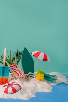 Summer vacation concept with beach accessories, ice-creams, summer fruits and sand