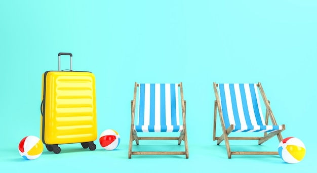 旅行のコンセプトのための夏休みのデザイン。 3dレンダリング