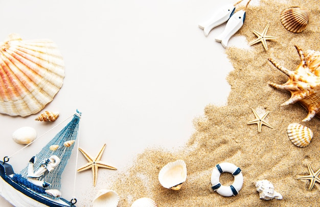 Summer vacation objects on the sand