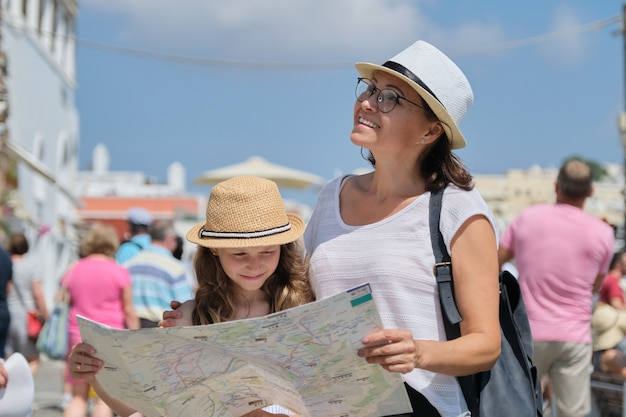 Summer vacation together, family mother and little child daughter traveling