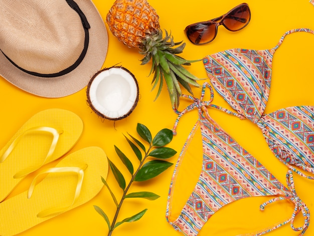 Summer vacation, travel concept flat lay. beach accessories