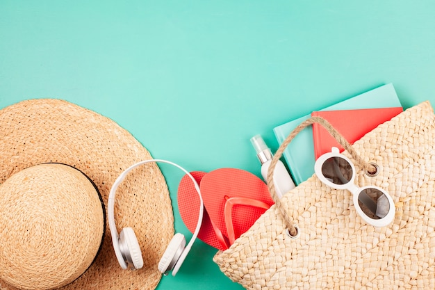Summer vacation, travel, tourism concept flat lay