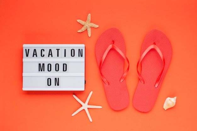 Summer vacation, travel, tourism concept flat lay.