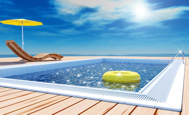 Summer vacation with swimming pool and sea view, 3d rendering