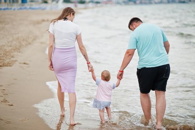 夏休み。親と子供との野外活動。幸せな家族の休日。海砂浜の父、妊娠中の母、赤ん坊の娘の背面図。