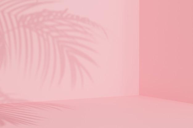 夏休みピンクの背景と熱帯の葉の影、最小限の3dイラストレンダリング