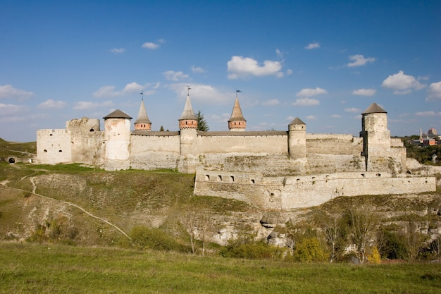 Summer view to castle in kamianets-podilskyi