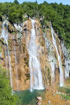 Summer view of large waterfall in plitvice lakes national park (croatia)
