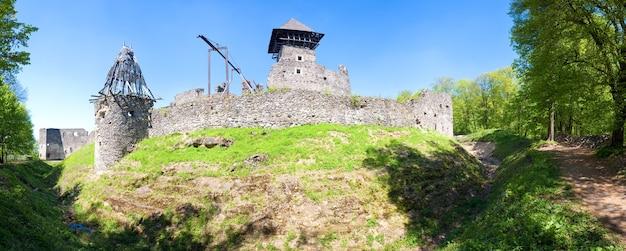 ネヴィツキー城遺跡の夏の景色(ウクライナ、ザカルパッチャ州、ウジホロドの北12 kmのカメニツァ村)。 13世紀に建てられました。 5ショットステッチ画像。