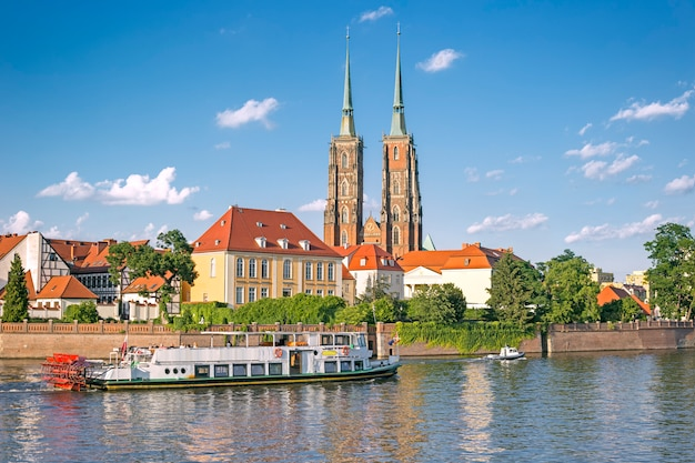 Summer view of tumski island in wroclaw, poland