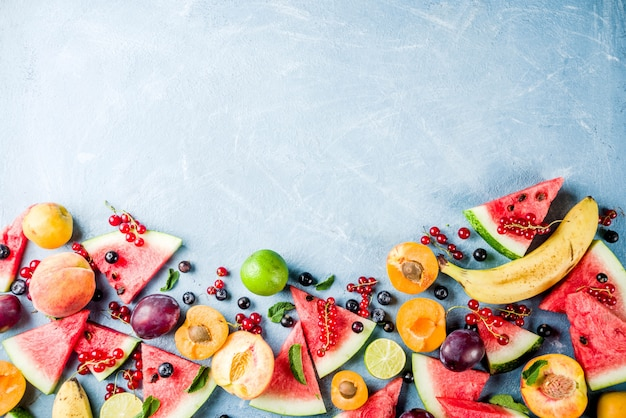 Summer vitamin food concept, various fruit and berries