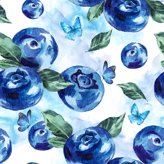 Summer watercolor blueberries seamless background