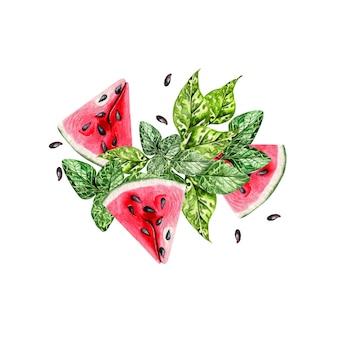 Летняя акварель карта с тропическими листьями, ломтиками арбуза и зелеными листьями. иллюстрация