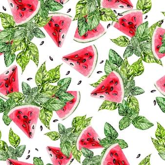 Летняя акварель бесшовные модели с тропическими листьями, кусочками арбуза и зелеными листьями. иллюстрация Premium Фотографии