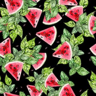 Летняя акварель бесшовные модели с тропическими листьями, кусочками арбуза и зелеными листьями. иллюстрация