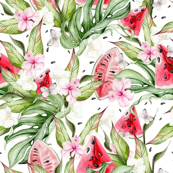 Летний акварельный фон с тропическими листьями, кусочками арбуза, цветами гибискуса и бабочками. иллюстрация