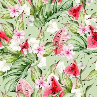 Летний акварельный фон с тропическими листьями, кусочками арбуза, цветами гибискуса и бабочками. иллюстрация Premium Фотографии