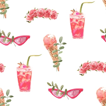Summer watercolor seamless pattern