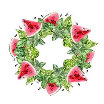 Летний акварельный венок с тропическими листьями, кусочками арбуза и зелеными листьями. иллюстрация