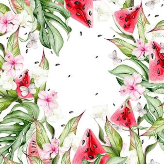 Летняя акварельная открытка с тропическими листьями, кусочками арбуза, цветами гибискуса и бабочками. иллюстрация