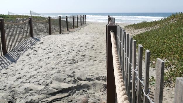 アメリカ、カリフォルニアの海岸線のビーチで夏の波。太平洋岸、海岸のピケットフェンス。