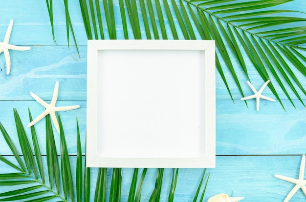 Summer white frame with tropical palm leaf branch