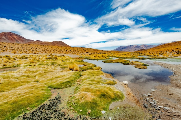 Летний широкий горный боливийский пейзаж