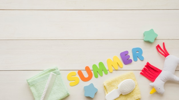 Summer word among toys