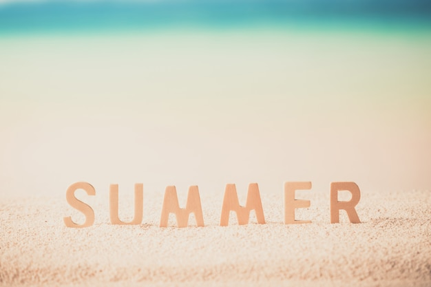 Summer word on tropical beach bright color . background layout banners