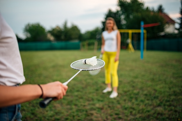 Summertime fun. playing badminton.