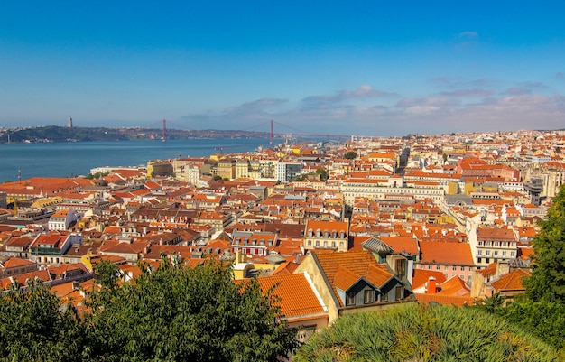 Summertime sunshine day cityscape to historic old district in lisbon from castelo de s. jorge portugal.